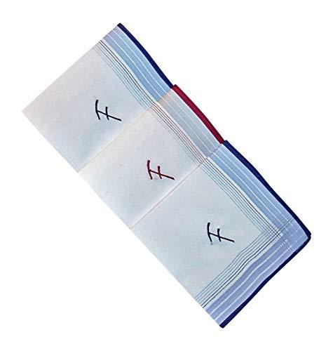 3 Stück Herren-Monogrammtaschentücher | Baumwolle mit farbiger Satinkante | Im Klarsichtkanton | In blau und wein-rot | Freie Monogrammwahl (F)