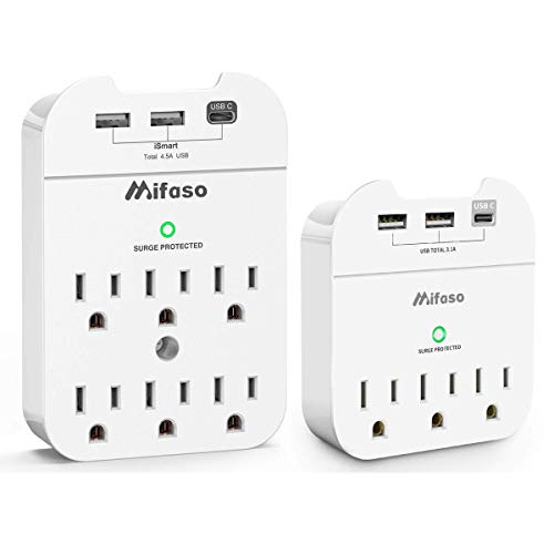 Multi Plug Outlet Extender with USB C, Outlet Splitter 490 Joules Surge Protector Power Strip, Wall Plug Grounded Adapter with Phone Holder for Office Home White