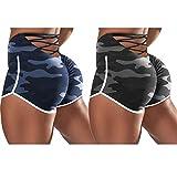 Binggong Pantalones cortos de deporte para mujer, para fitness, correr, yoga, opacos, estiramientos, cintura alta, yoga, 2 unidades