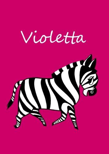 personalisiertes Malbuch / Notizbuch / Tagebuch - Violetta: Zebra - A4 - blanko