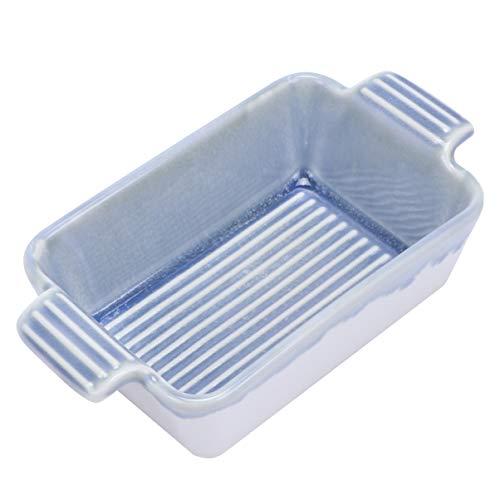 Luxshiny Cuenco de cerámica para hornear, plato de doble oreja Brulee Baking Ramekin Cake Dish (azul)