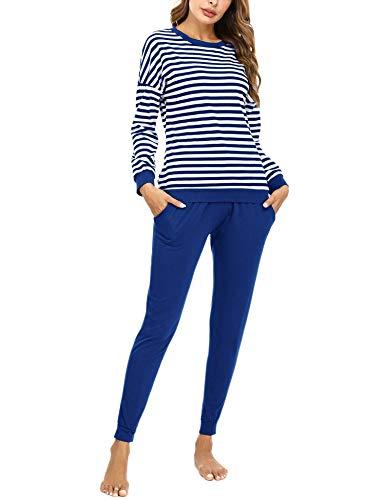 Doaraha Pijamas Algodón para Mujer Estampado de Rayas Ropa de Dormir Camiseta Manga Larga con Pantalones Larga Puño Elástico Conjunto de Pijamas Suave y Transpirable (Azul, M)