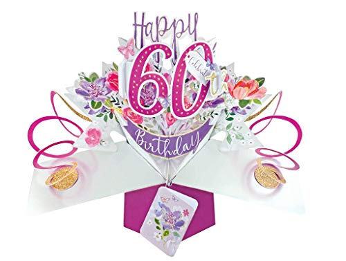 Second Nature 60th Birthday Flowers Pop Up Greeting Card - POP193