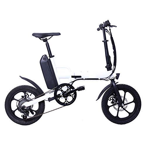 KNFBOK Elektro klappräder Variable Geschwindigkeit, die elektrisches Fahrrad 16-Zoll-Lithiumbatterie-Fahrrad DREI Modus fährt Mini-Einzelrad-LED-Höhepunkt-Doppelscheibenbremse Weiß faltet