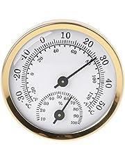 Guangzhou Termómetro analógico para Interiores, higrómetro, medidor de Temperatura y Humedad, termómetro higrómetro doméstico de 58 mm, Oro + Blanco