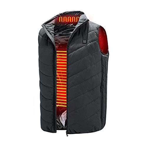 Rails Grau USB Heating Vest für Männer/Frauen,Leicht Waschbar USB Heizung Für Jacke mit 3 Heizzonen und 3 Temperaturregler,XXXXL Beheizbar Weste für Camping im Freien