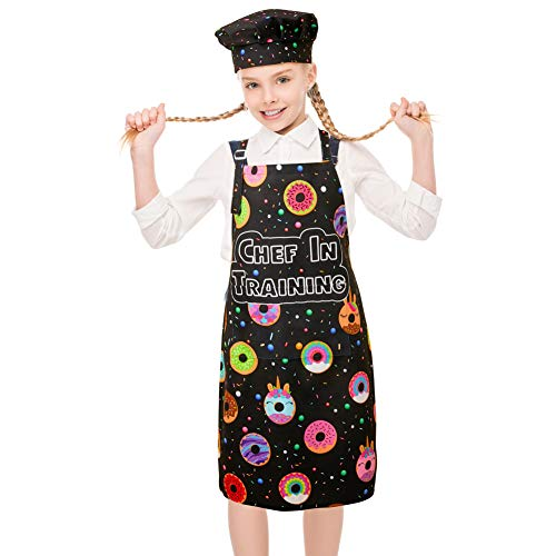 MHJY Kids Apron Chef Hat Set for Girls, Adjustable Cooking Kitchen Apron with Pockets for Baking Painting Gardening,Black,Large (8-12 Years)