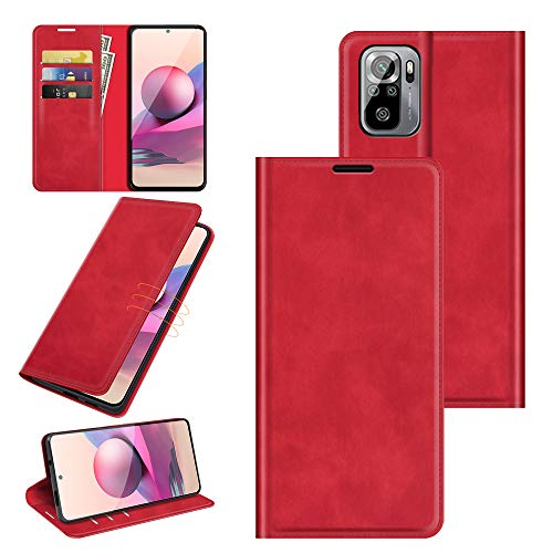 Fertuo Hülle für Xiaomi Redmi Note 10 4G, Handyhülle Leder Flip Hülle Tasche mit Kartenfach, Magnetverschluss, Silikon Innenschale Schutzhülle Cover Lederhülle für Redmi Note 10 / Note 10S, Rot