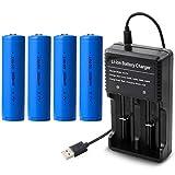 1本充電器 + 4本18650 充電池 3000mAh USBバッテリー充電器付き 戦術懐中電灯/ヘッドランプ用電池 釣り用バッテリー (18P2)