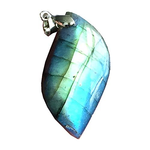 Colgante de labradorita natural, joyería de cuentas de cristal de labradorita para mujeres y hombres, 43 x 21 x 12 mm, piedra de luna de plata amarilla y azul claro AAAAA