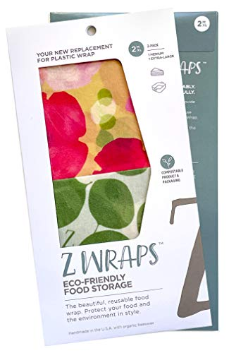 Z Wraps Multi 2-Pack, Reusable Beeswax Food Wrap and Food Storage Saver, Alternative to Plastic Wrap, Sustainable, Eco-Friendly Beeswax Food Wraps - Medium, Extra Large (Leafy/Poppy)