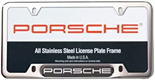 Genuine OEM PORSCHE Stainless Steel Nameplate License Frame - POLISHED SILVER FINISH