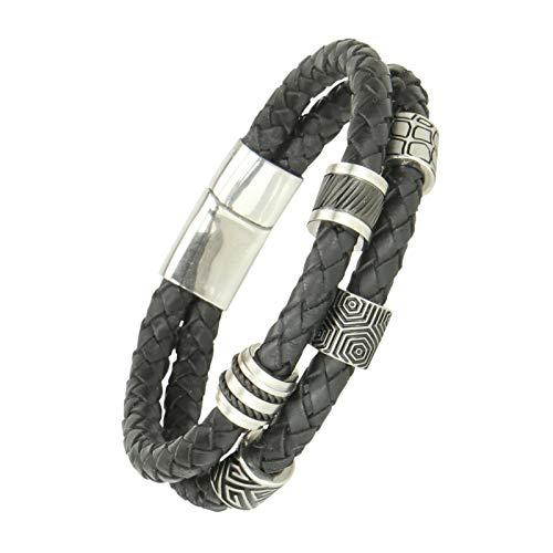 Gold77 Herren Leder-Armband geflochten Luxus mit CNC Firestone-Beads und Verschluß aus Edelstahl, Länge:Armband 18cm