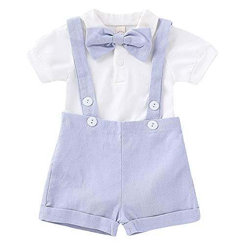 inhzoy Baby Jungen Kleidung Set Festliche Plaid Hemd Body mit Fliege Hosenträger Shorts Gentleman Anzug Taufanzug Sommer Kleidung Baumwolle Blau & Weiß B 80-86