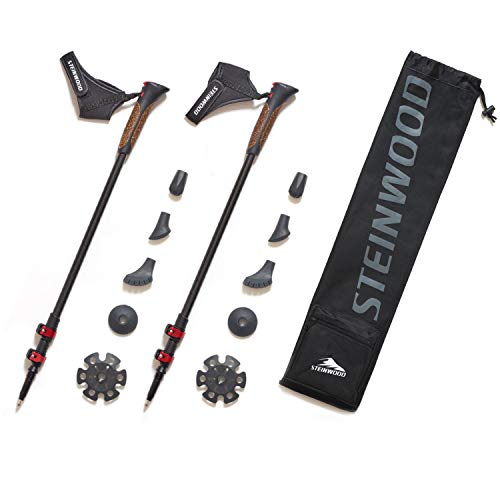 Steinwood Premium 100% Carbon Nordic Walking Stöcke verstellbar mit Teleskop und Klemmverschluss mit extra Gummipuffer und Tragebeutel
