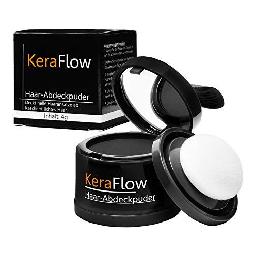 KERAFLOW- Abdeckpuder zum Abdecken von lichten und hellen Stellen auf der Kopfhaut, Make Up für die Haare, perfektes Abdecken von Haaransätzen, Haarpuder - 4g (Dunkelbraun)