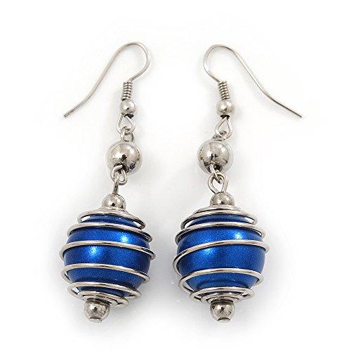 Pendientes de gota de perlas de imitación azul marino en tono plateado – 5,5 cm de gota