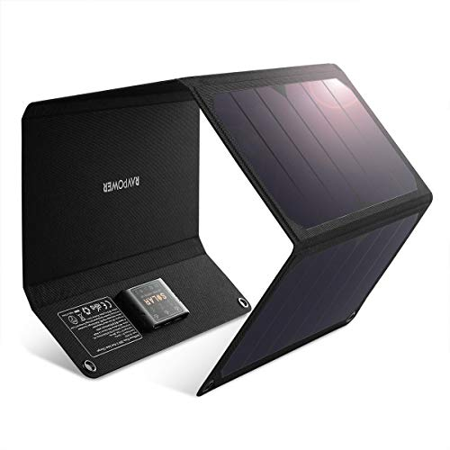 RAVPower Solar Charger 28W Solar Panel with 3 USB Port Waterproof Foldable Camping Travel Charger Compatible iPhone Xs XS Max XR X 8 7 Plus, iPad, Galaxy S9 S8 Edge Plus, Note, LG, Nexus and More