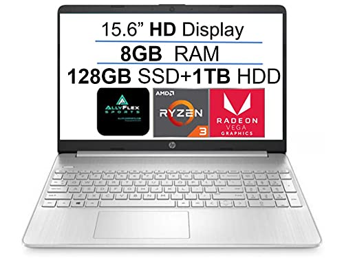 "2021 Newest HP 15 15.6"" HD Display Laptop Computer, AMD Ryzen 3 3250U(up to 3.5GHz, Beat i3-8130U), 8GB DDR4 RAM, 128GB SSD+1TB HDD, WiFi, Bluetooth, HDMI, Webcam, Remote Work, Win 10 S, AllyFlex MP"