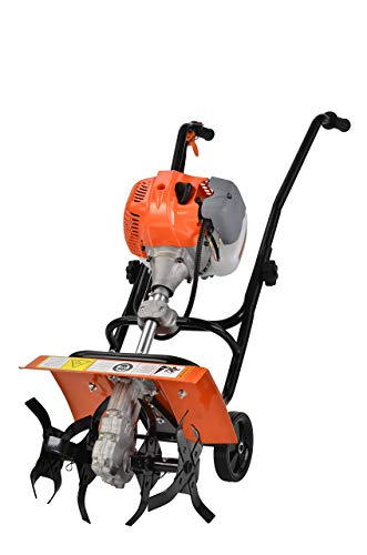 eSkde TI52-S8 52cc Petrol Garden Tiller Cultivator Rotovator Rototiller with Powerful Air Cooled 2 Stroke Engine, Orange and Black