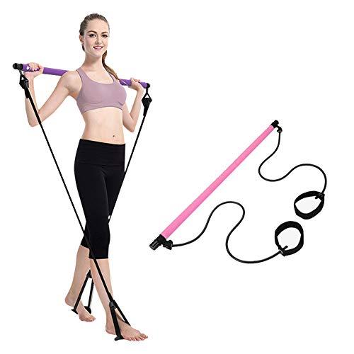 Vavshop Tragbare Pilates-Stange mit Widerstand, Yoga-Übungsstange, Pilates-Trainer, Fitness-Stange mit Fußschlaufe für Zuhause, Bodybuilding-Workout (Pink, Einheitsgröße)