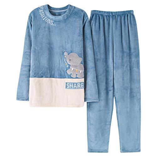 DFDLNL Conjuntos de Pijamas para Hombres y Mujeres Otoño Invierno Pijamas de Franela Traje de Dibujos Animados Femeninos Impreso 2 Piezas Ropa de Dormir Pareja Homewear L H1848M-DE