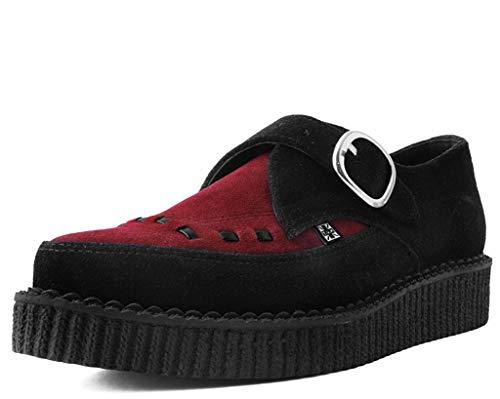 T.U.K. Shoes Herrenfrauen Schwarz & Burgundery Wildleder Mönchsschnalle Spitz Creeper EU46 / UKM12