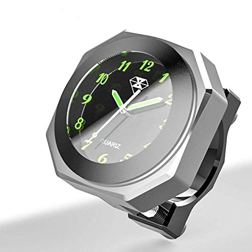Moto Manillar Montaje Fresco Estilo Noctilucente Reloj Dial Reloj de Cuarzo Moto Luminoso Reloj de Aleación Medidor de Tiempo Reloj Resistente al Agua (plata)