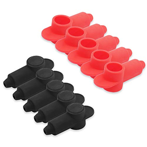 Recoil 10 Pack Silicone Terminal Covers for Alternator Battery Stud and Power Junction Blocks, Fits 10-2AWG Wire, 5 Red and 5 Black Pairs