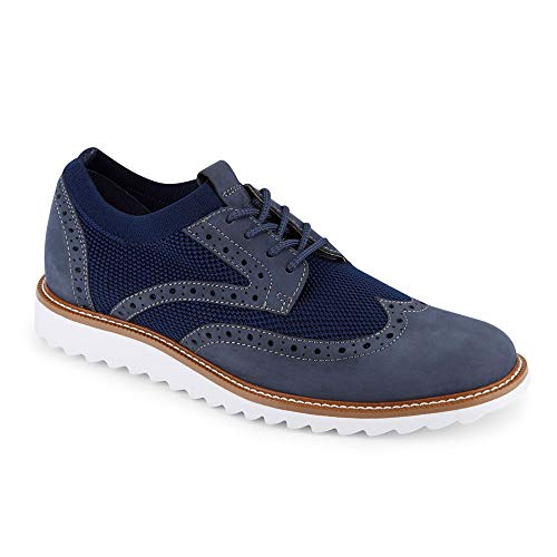 Dockers Mens Hawking Knit/Leather Smart Series Dress Casual Wingtip Oxford Shoe with NeverWet Charcoal