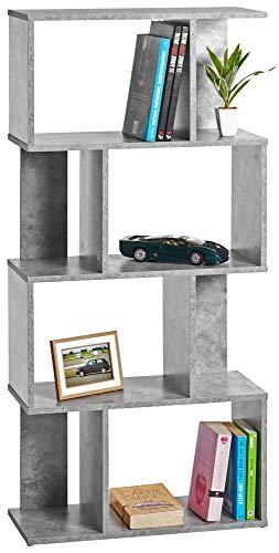 ts-ideen Design rek hoge kast boekenkast CD-rek opslag hout betonlook grijs 128,5 x 60 cm