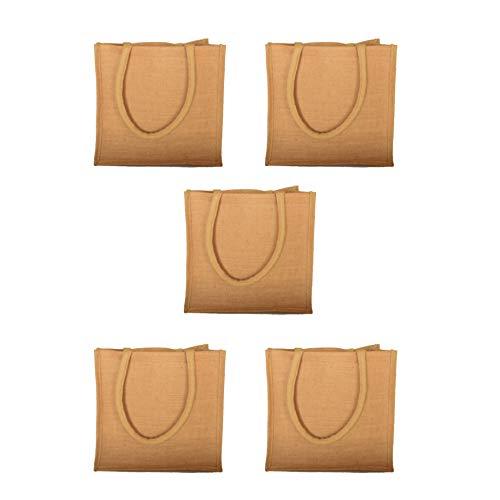 Bolsas de yute natural reutilizables, 6,5 L (paquete de 5) (S: 9 x 11 x 4 pulgadas)
