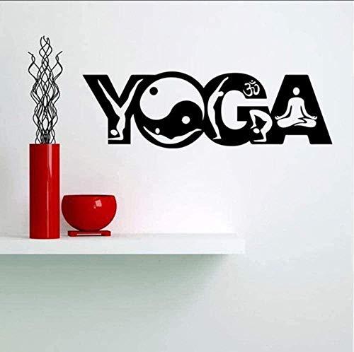 Personalidad,dormitorio chico y chica DIY,Innovador,extraíble,reutilizable,Decoración del hogar Yoga Art Text Vinilo Decoraciones extraíbles Sala de estar Fondo de estantería 68X21cm