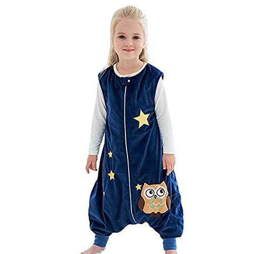 Riou Baby Winter Schlafsack mit füßen, Mädchen Junge Flanell Warm Babyschlafsack ohne Ärmel mit Beinen Overall Schlafanzug (1-3 Jahre, Dunkelblau)