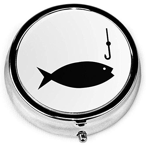 Angelrute Clipart tragbare runde silberne Pille Box Tasche 3 Fach Medizin Fall für Tasche oder Geldbörse