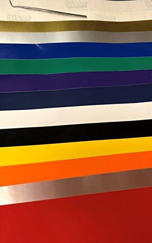 siser Top 12Farben von easypsv Permanent Craft Vinyl 30,5x 30,5cm Blatt + Transfer Papier + Unkrautjäter