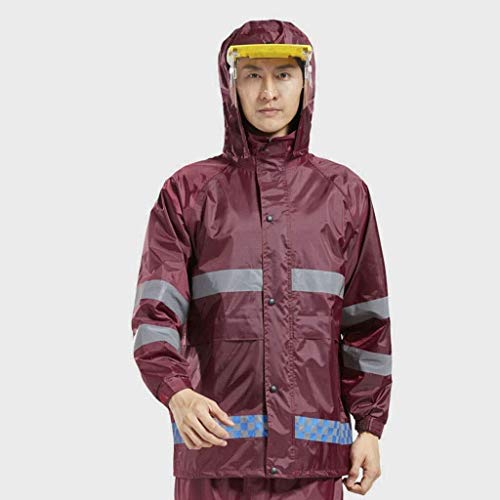 Regenmantel Raincoat Jacke Set Hervorgehoben Reflective Unter Freiem Himmel Design Motorrad-Reitsport-Angeln Wanderung (Color : Red, Size : XL)