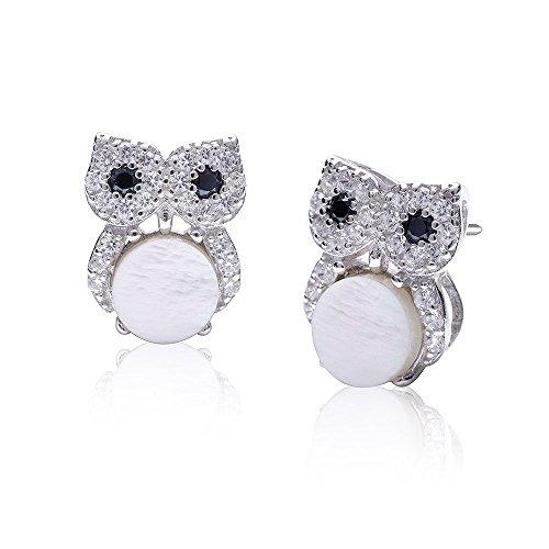 MATERIA Damen Ohrstecker Eule Glücksbringer 925 Silber Ohrringe Perlmutt weiß mit Zirkonia 10x11mm #SO-285