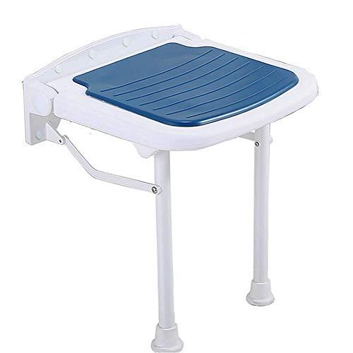 Taburete de ducha de pared para baño con pata, silla de ducha plegable, asiento de seguridad, taburete de hoja abatible, montaje en banco para adultos, ancianos, bañera, bañera, azul, ajuste alto