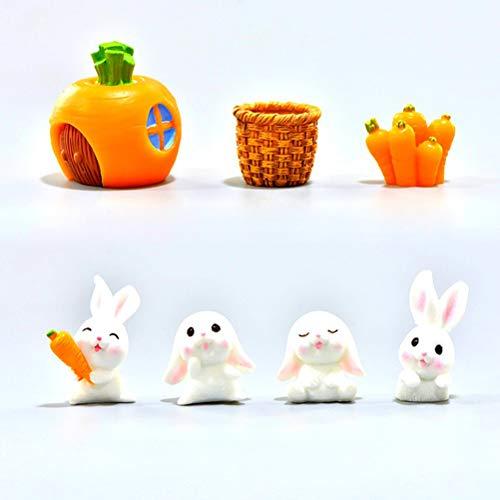 RUIYELE 7 figuras de resina de bonsái de zanahoria de conejo, decoración de jardín en miniatura, decoración de plantas para el hogar, micro paisaje, manualidades, artesanías hechas a mano en macetas