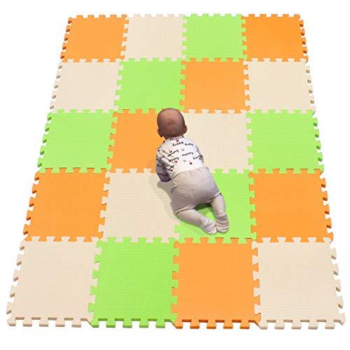 YIMINYUER Alfombra puzles para Bebe Puzzle Infantil Suelo Piezas Goma eva ninos de Suelo Grande Infantiles Naranja Beige Pastoverde R02R10R15G301020