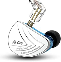 KZ AS16 16 Units Earbuds Balanced Armature Headphones Noise Reduction Extra Bass Sports in Ear Earphone (No Mic, Blue)