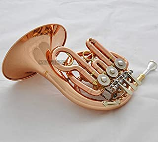 FidgetGear Prof. Rose Brass Piccolo MiNi French Horn Bb Keys Engraving Bell With Case Mouth