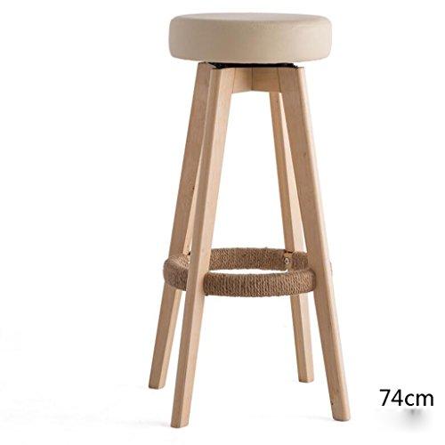 Rollsnownow Beige Coussin En Bois En Bois Cadre Haute 74 cm Bar Chaise Haute Tabouret Moderne Simplicité Rotation Chaise