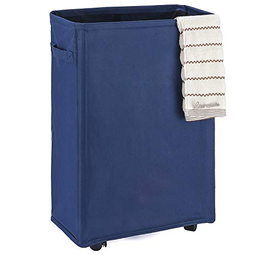 "Caroeas 22"" Slim Rolling Laundry Basket Waterproof Laundry Storage Hamper Corner Fittable Storage Bag Collapsible Rolling Hamper Flexible Laundry Bag On Wheel For Home,Office (Slim 22"",Navy Blue)"