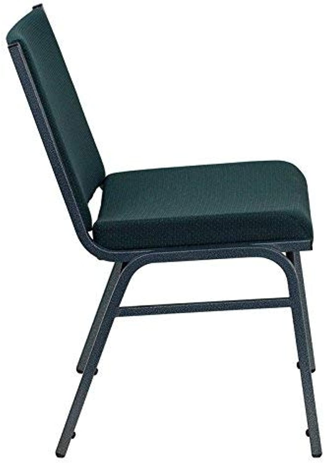 Flash Furniture HERCULES Series Heavy Duty, 3'' Thickly Padded, Green Patterned Upholstered Stack Chair