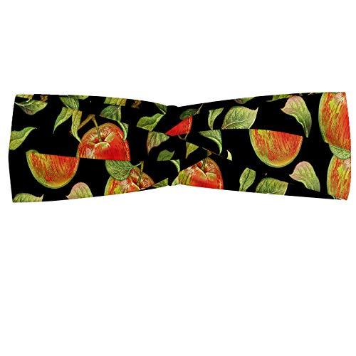 ABAKUHAUS appel Hoofdband, Hand Getrokken Boomtakken, Elastische en Zachte Bandana voor Dames, voor Sport en Dagelijks Gebruik, Varen Groen Rood Zwart