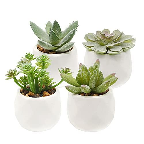 Sdoowes 4 piante grasse artificiali, mini piante artificiali in vaso di plastica, come vera, per la casa, la scrivania, la cucina, il bagno, il giardino