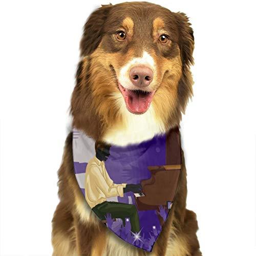 N/B Man Spelen Piano In Muziek Band Performanc Aangepaste Hond Hoofddoek Heldere Gekleurde Sjaals Leuke Driehoek Bibs Accessoires Voor Huisdier Honden