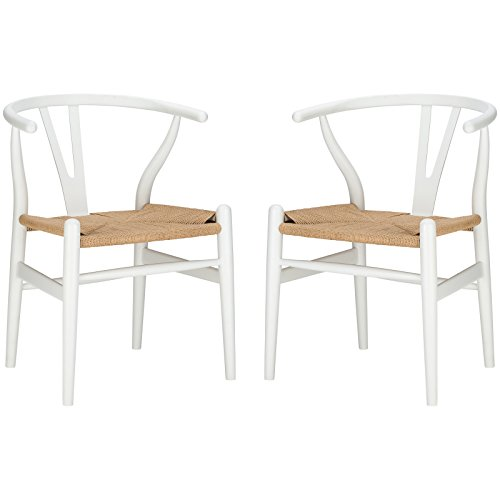 Poly and Bark Weave Modern Wooden Mid-Century Dining Chair, Hemp Seat, White (Set of 2)